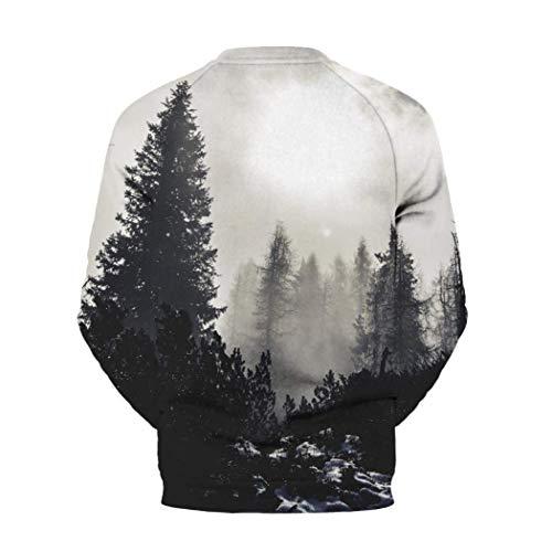en Pullover vrac Sweat Imprimer Fashion chemises 3D manches Zhrui shirt shirt T homme automne rond longues Bodycon Blouse ink col Splash blanc shirt Casual naqp7