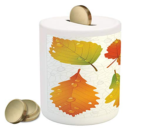 - Ambesonne Fall Piggy Bank, Realistic Illustration of Dried Seasonal Foliage with Raindrops on a Vein Background, Printed Ceramic Coin Bank Money Box for Cash Saving, Multicolor