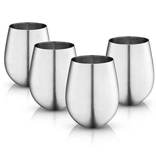 MosesMo Stainless Steel Stemless Wine Glasses 18 Oz | Unbreakable & Shatterproof Glasses For Red & White Wine, Drinks, Champagne, Cocktails & More, Choose between Matte or Glossy finish (4, Matte)