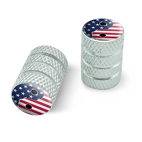 オートバイ自転車バイクタイヤリムホイールアルミバルブステムキャップ - アルミニウムアメリカの愛国心と羊のアメリカの旗