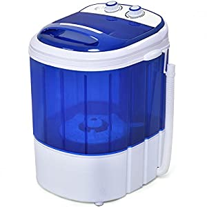 COSTWAY Mini Washing Machine Small Compact Washer 7lbs Capacity (Blue)
