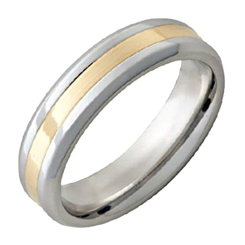 18k Yellow Gold Inlay - Roy Rose Jewelry ~ Serinium Band 6mm Wide 18K Yellow Gold Inlay Design Mens Ring ~ Sizes 10