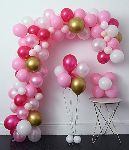 Pink Latex Hot Balloons - Pink Party Balloons 110 Pcs Hot Pink & Gold Latex Metallic Pearlescent Balloon Arch & Garland Kit Balloon Tying Tools+Decorating Strip+Gule Dots+Flower Clips+Curling Ribbon Wedding, Baby Shower, Party