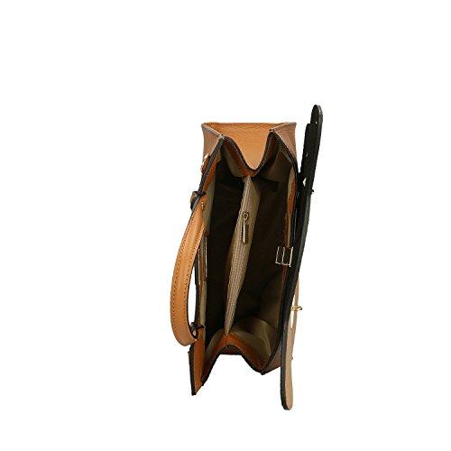 Avellana Cuero fabricado Mujer Bolso en Borse 32x28x13 piel en Cm Chicca genuina Italia 7OFqYxw