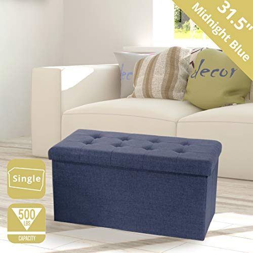 Seville Classics Foldable Tufted Storage Bench Ottoman, Midnight Blue (Double Storage Ottoman With Tray)