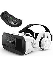 Gaeruite VR Headset con Control Remoto Auriculares estéreo, Gafas de Realidad Virtual universales, HiFi Headset 3D VR Gafas de Realidad Virtual con Juego de manijas