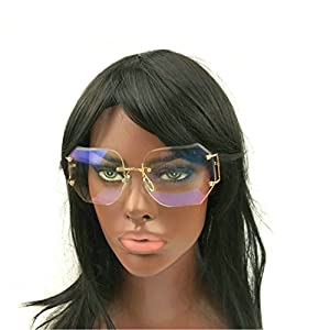 MINCL/2016 HOT RIMLESS SUNGLASSES WOMAN CLEAR LENS (gold, clear)