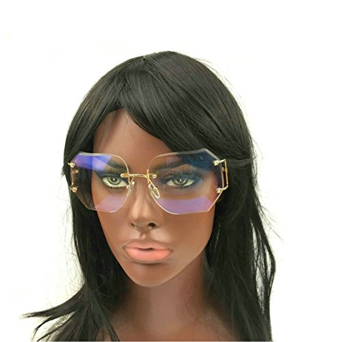 MINCL/2016 HOT RIMLESS SUNGLASSES WOMAN CLEAR LENS (gold, - Glasses For Big Women