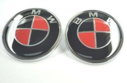 2pcs Replacement Black Red Carbon Round Bright Emblem 82mm For Front Hood / Back Trunk Replacement Emblem Logo Badge