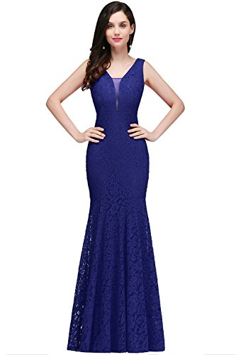 Womens Mermaid Evening Gown 2017 Lace Cocktail Dress,Royal Blue,Size -