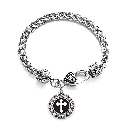 Inspired Silver - Vintage Cross Braided Bracelet for Women - Silver Circle Charm Bracelet with Cubic Zirconia Jewelry