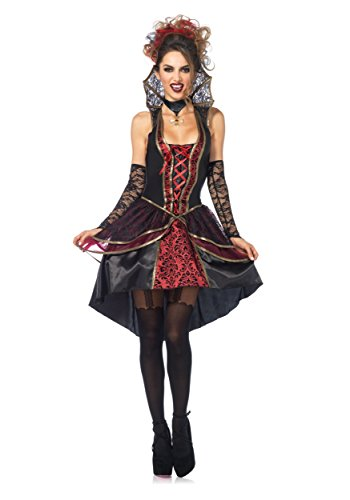 Sexy Vampire Costumes For Women (Leg Avenue Women's 3 Piece Vampire Queen Costume, Black/Burgundy, Small)