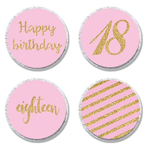 MAGJUCHE Pink 18th Birthday Candy Stickers, Girl Gold Glitter 18 Years Birthday Party Favor Labels, Supplies, Decorations -