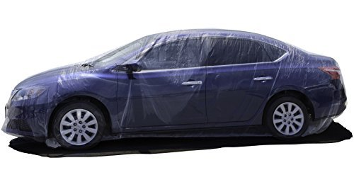 Bulk Lot of 5 - Plastic Car Covers with Elastic Band 12 X 22 Feet Disposable Temporary Paint Dust...