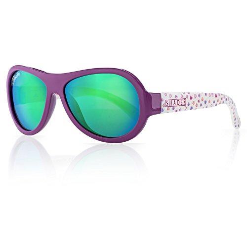 SHADEZ Kids Flex Frame Designer Aviator Sunglasses -Hearts, Mauve, 3-7 Years - 100% UV Protection for Baby, Children and Teens - Frame Mauve Lenses