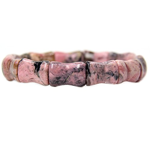 Amandastone Natural Mixed Rhodonite Genuine Semi Precious Gemstone Bamboo Festival Beaded Stretchable Charm Bracelet 7