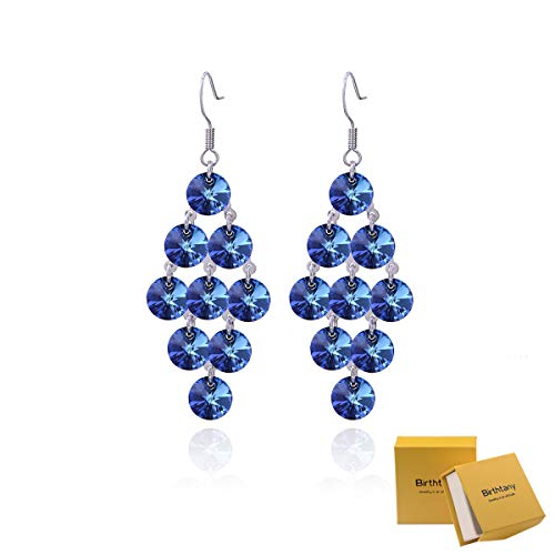 Sterling Silver - Bermuda Blue Swarovski Zirconia Chandelier Earrings for Women Big Long Statement Cubic Zircon CZ Cluster Filigree Dangle Drop Earrings for Wedding ()