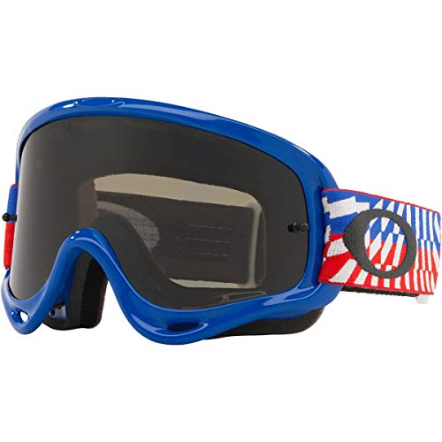Oakley O Frame MX Adult Off-Road Motorcycle Goggles - Braking Bumps RWB/Dark Grey & Clear