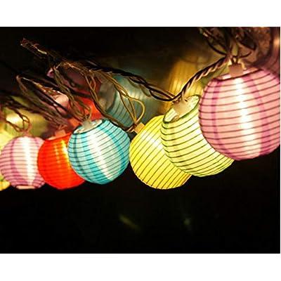 Goothy 10 Pack Multicolor Lantern String Lights 8.5FT (Plus 4 Extra Bulbs) Handing Mini Incandescent Lanterns String Lights for Camping, Wedding, Garden, Backyard, Party : Garden & Outdoor