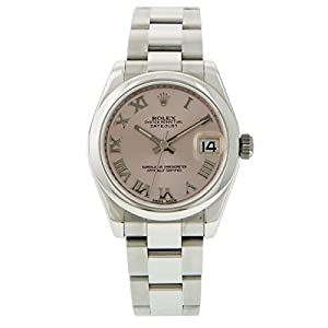 Oyster Perpetual DateJust Stainless Steel Smooth Bezel Pink Salmon Dial with Roman Markers Watch - 31 mm