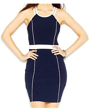 Guess Navy Womens Contrast-Trim Halter Stretch Dress Blue 6