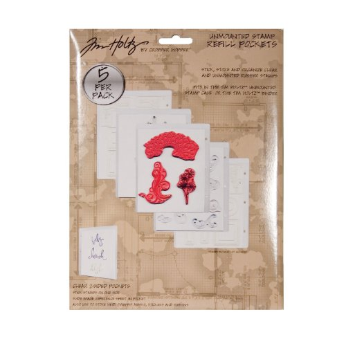 Unmounted Stamp Storage - Unmounted Stamp Refill Sheets by Tim Holtz Idea-ology, 5 per Pack, 10 x 7.5 x .25 Inches, Plastic, TH92473