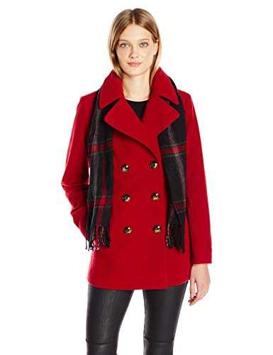 London Fog Women's Double Breasted Peacoat with Scarf, red, - Womens Red Peacoat