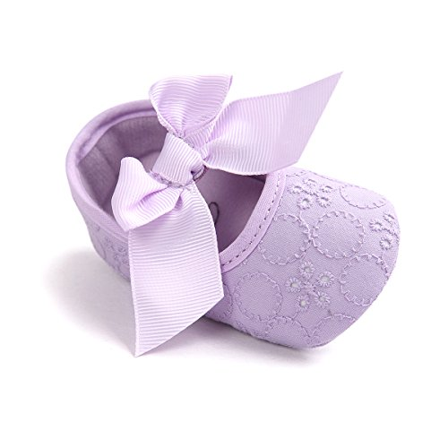 Baby Girls Princess Bowknot Soft Sole Cloth Crib Shoes Sneaker Purple, 6-12 Months (Baby Purple Shoes)