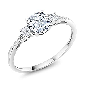 10K White Gold Diamond Accent Three Stone Women's Engagement Ring set with Hearts And Arrows White Created Sapphire 1.35 cttw (Available 5,6,7,8,9)