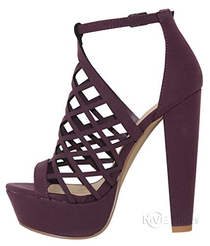 84e92b3358f6 MVE Shoes Womens Stylish Block Heel Platform Cutout Design Comfortable Back  Zipper