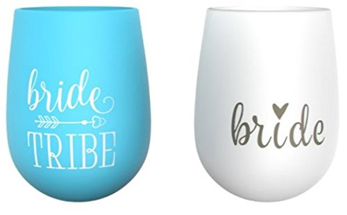 10 piece set of Bride Tribe and Bride Turquoise Silicone Cups, Perfect for Bachelorette Parties, Weddings, and Bridal Showers