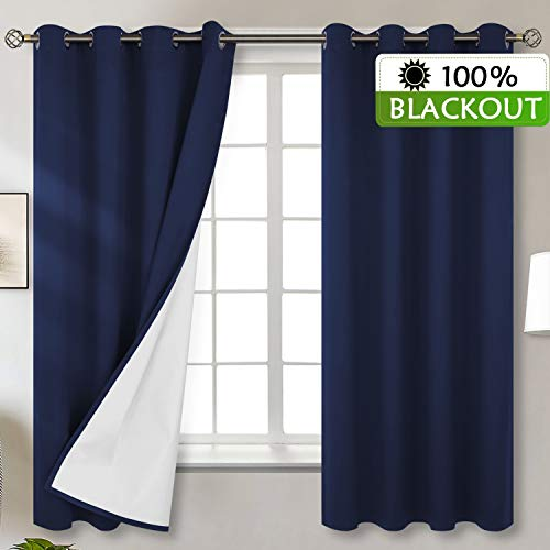 BGment Total Blackout Curtains with Coated Lining, Grommets Thermal Insulated Room Darkening Curtain for Bedroom and Living Room, 52 x 63 Inch, 2 Panels, Navy