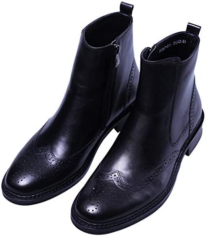 Santimon Men's Leather Oxfords Brogue Chelsea Dress Mid-Calf Boots Black Red