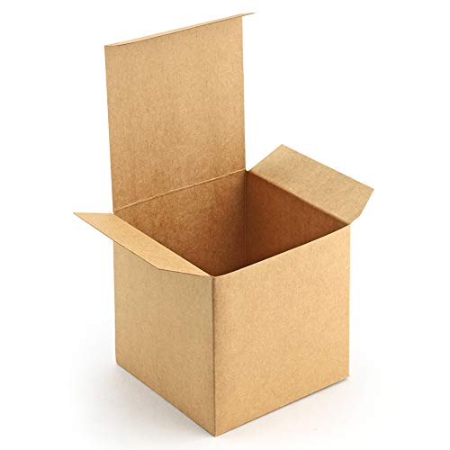 ValBox 4x4x4 Brown Gift Boxes 50PCS Kraft Paper Boxes with Lids for Gifts, Crafting, Cube, Cupcake Boxes, Easy Assemble Boxes for Party Favor (Box Gift Ornaments)