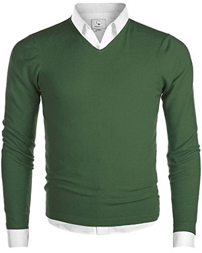 MiCotton Men's V-Neck Long Sleeve Regular Fit Pullover Cotton Casual Sweater Green Medium (V-neck Men Sweaters Cardigans)