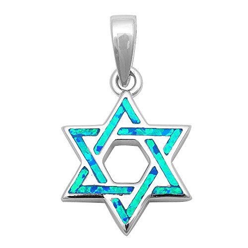 Lab Created Blue Opal Star of David .925 Sterling Silver Pendant (Sterling Star Necklace Diamond Silver)