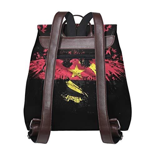 Kvinnor PU-läder örn Angola flagga sköld logo ryggsäck handväska resa skola axelväska vardaglig dagväska