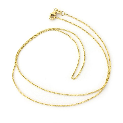 llow Gold 1.1mm Cable Link Chain Necklace with Lobster Lock, 18