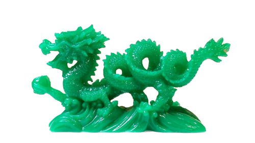 Monkey King TM JADE Color Chinese Feng Shui Dragon Figurine Statue for Luck & Success 6 inch ()
