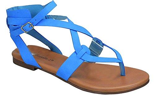 Breckelles Womens Open Teen Enkelband Cage Uitsparing Platte Strappy Flats-sandalen Blauw