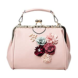 Abuyall Women's Retro Handbag Kiss Lock Shoulder Bag Vintage Purse Flowers