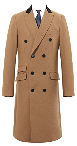 The Platinum Tailor Mens Double Breasted Camel Cashmere & Wool Overcoat Winter Cromby with Velvet Collar & Gold Lining (42) - Cashmere Double Breasted