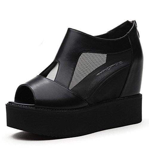 Helen Scarpe singole di bocca di pesce Primavera Alta tacchi Sandali di Muffle Aumento nelle scarpe da estate (Nero) ( dimensioni : 35 yards )