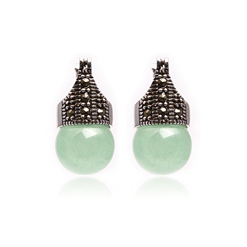 - GEM-inside Earrings Green Jade Round Ball Gemstone Beads Cute 12mm Tibetan Silver Fashion Jewelry for Woman