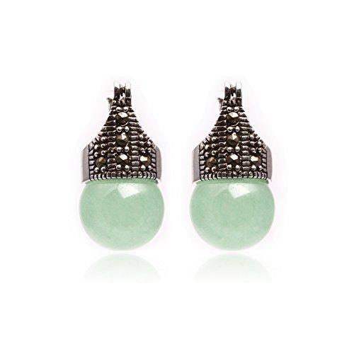 GEM-inside Earrings Green Jade Round Ball Gemstone Beads Cute 12mm Tibetan Silver Fashion Jewelry for Woman