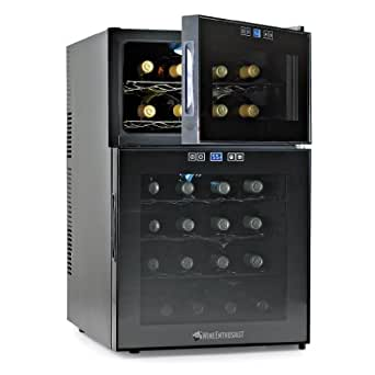 Wine Enthusiast Silent 24 Bottle Two-Temp Touchscreen Wine Refrigerator