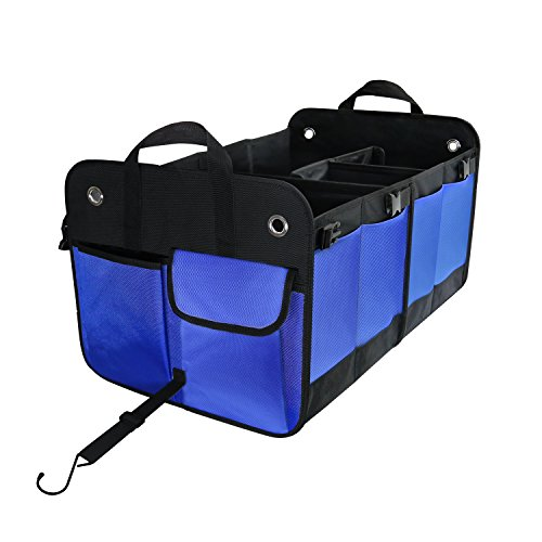 WDK Car Trunk Organizer, Durable Collapsible Foldable Cargo Storage, Waterproof, Large Size, Heavy Duty, Prevent Sliding Strips, Multi Compartments Side Pockets, for Vehicle Auto SUV JEEP Minivan