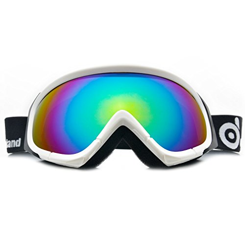 Odoland Ski Goggles for Adult Man & Woman– UV400 Protection and Anti-Fog – Double Grey Spherical Lens for Sunny and Cloudy Days (White)