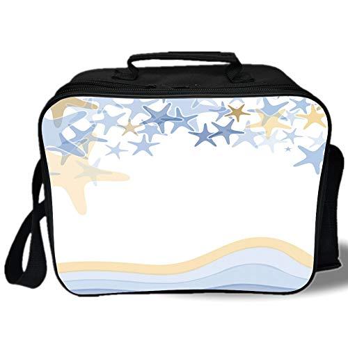 Insulated Lunch Bag,Starfish Decor,Wavy Stripes Ocean Inspired Design Starfishes Sky Aquatic Sea Life Theme Decorative,Multicolor,for Work/School/Picnic, Grey