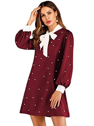 Floerns Women's Long Sleeve Tie Neck Pearl Short Dress Burgundy ()